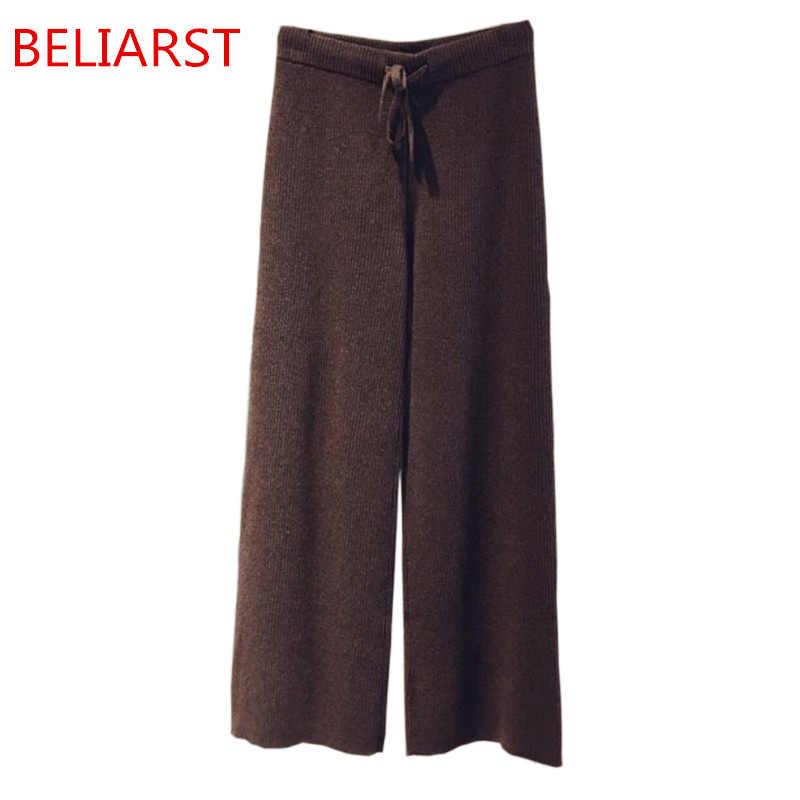 Beliarst outono e inverno novas mulheres largas calças perna poose casual calças de caxemira moda listrado calças de malha frete grátis