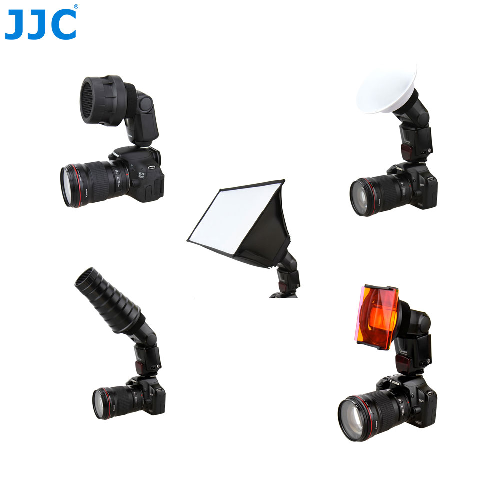 купить JJC 5 In 1 Flash Diffuser Adapter Kit Speedlite Softbox Accessory Universal Speedlight Studio Shooting Honeycomb Grids Mount онлайн