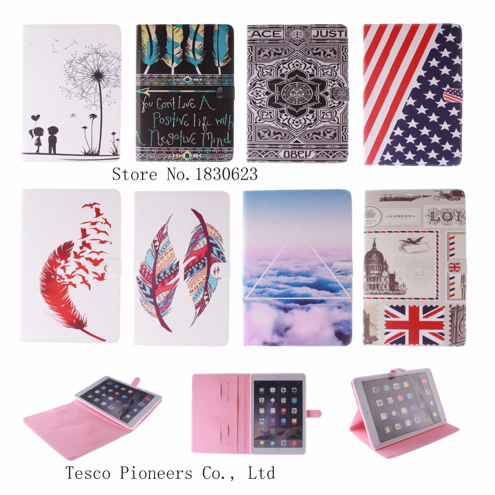 Fashion Feather Lotus Case for Samsung Galaxy Tab S2 9.7 T815C PU Leather Tablet Stand Cases with card slot for Tab S2 T815 9.7