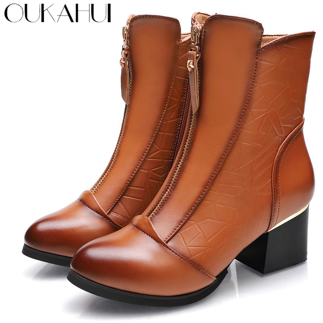 fe3111ba7a9 OUKAHUI Autumn Winter Elegant Genuine Leather Ladies Boots For Winter  Fleeces Warm High Heel Martin Boots Square Heel Half Boots
