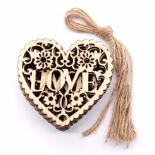 8x8cm Romantic wedding decoration wood Heart shape love Rust
