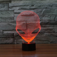 New Changeable USB Martian3D Table Lamp Acrylic Light Guide Plate LED Night Light Touch Switch Decorative