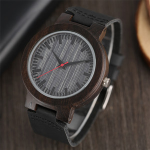 Image 2 - Watches Ebony Wooden Watch Mens Vintage Quartz Hand made Wood Clock with Genuine Leather Strap Wristwatch Gift Reloj de madera