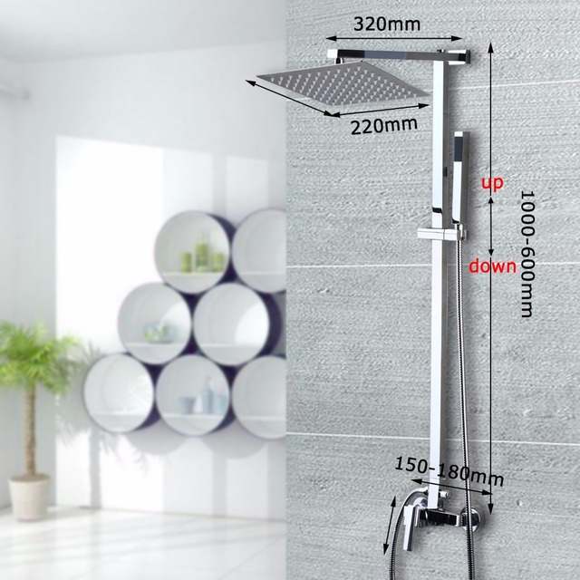 New Brass Chrome Bathroom Shower Set Wall Mounted 8 inch Square Stainless Steel Ultra-thin Water Saving Shower Set Faucets