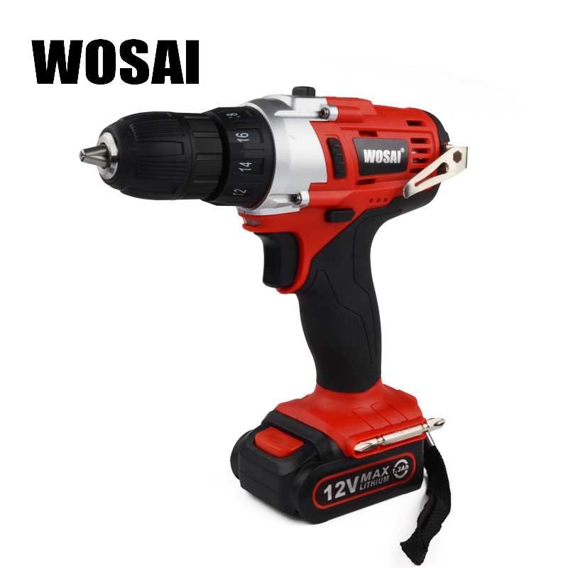WOSAI 12V Lithium Battery Electric Drill Bit Two-Speed Electric Cordless Drill Mini Screwdriver Hand Drill Electric Power Tools wosai 6pcs electric drill