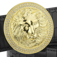 High quality Lion Golden copper round buckle brand luxury fashion designer belts men genuine leather Casual Waist Strap