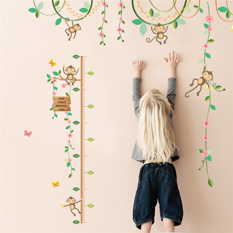 Swing Monkey Flower Tree Branch Wall Sticker Diy Height Measure Growth Chart Kids Baby Nursery Bedroom Home Decal Decor