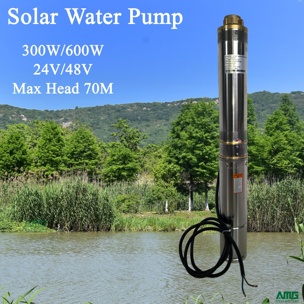 300W 24V DC Submersible Stainless Steel Solar Water Pump with build in pump controller