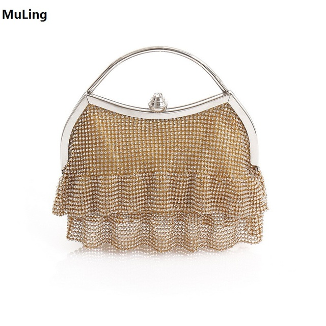 Gaun Bentuk Clutch Bag Evening Bag Gems Kristal Bling Handbag Clutch Purse  Pernikahan Tas 84394b0e23
