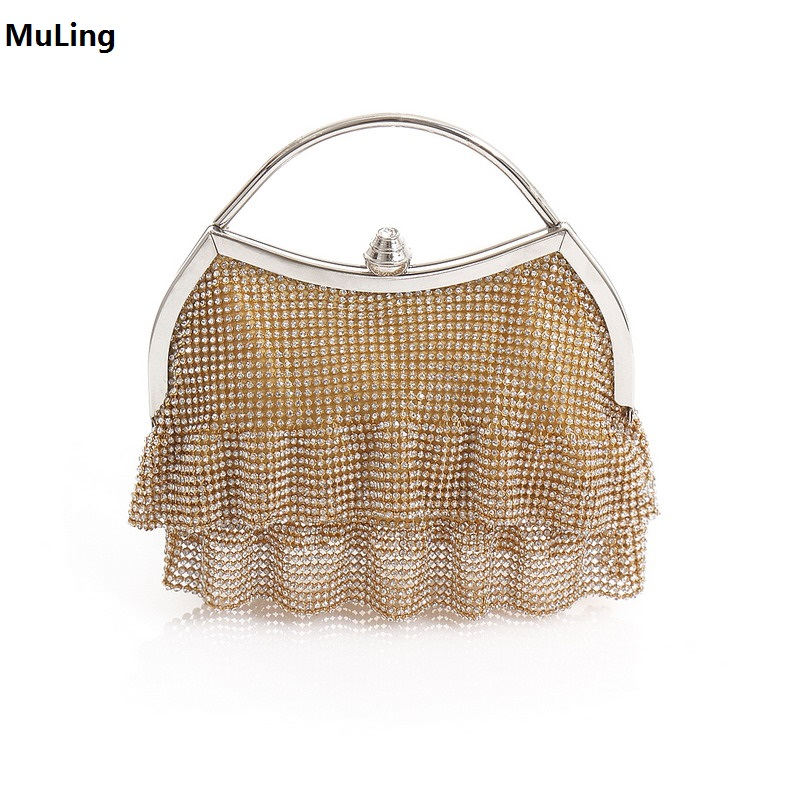 New!Dress Shape Clutch Bag Evening Bag Crystal Bling Handbag Clutch Gems Purse Wedding Bag for Women With Detachable Chains Gold