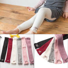 Girls Pencil Pant Autumn Winter Kids Korean Knitted Pearl Bow Leggings Solid Color Legging Baby Toddler Ankle Luster Pencil Pant недорого