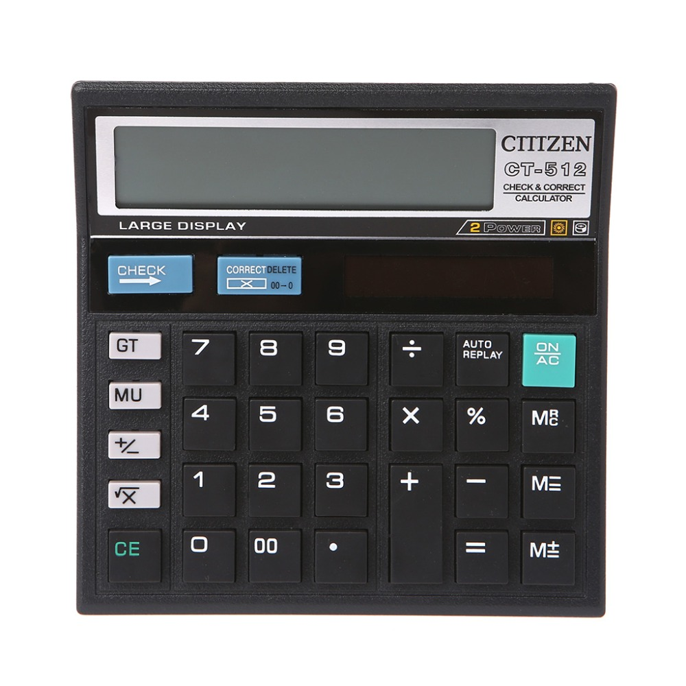 12-Digit Solar Battery Dual Power Large Display Office Desktop Calculator CT-512  For Office, School, Store And Home Use
