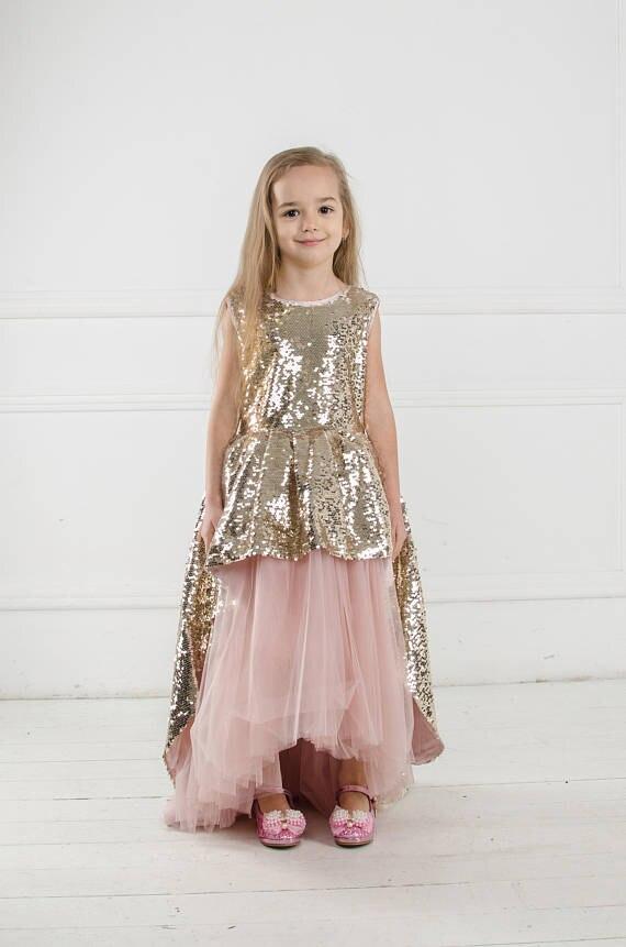 Mermaid Pageant Dresses for Girls Ankle-Length Flower Girl Dresses for Weddings With Sequined vestidos de primera comunion