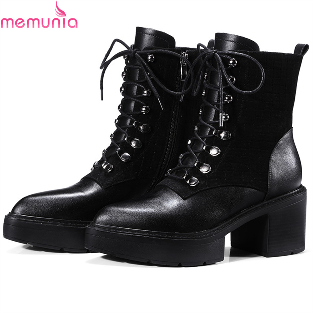 MEMUNIA black gray women boots pointed toe zipper square heel genuine leather boots cross tied cow leather ankle boots memunia fashion women boots round toe genuine leather boots zipper square heel wool keep warm cow leather mid calf boots