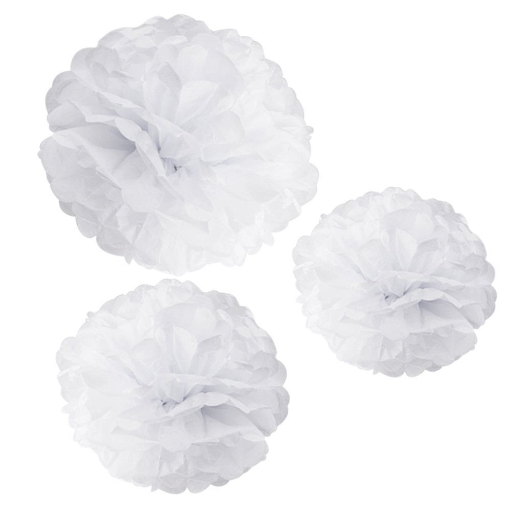 30 pieces paper pompon flower balls for home birthday party Wedding Decoration white