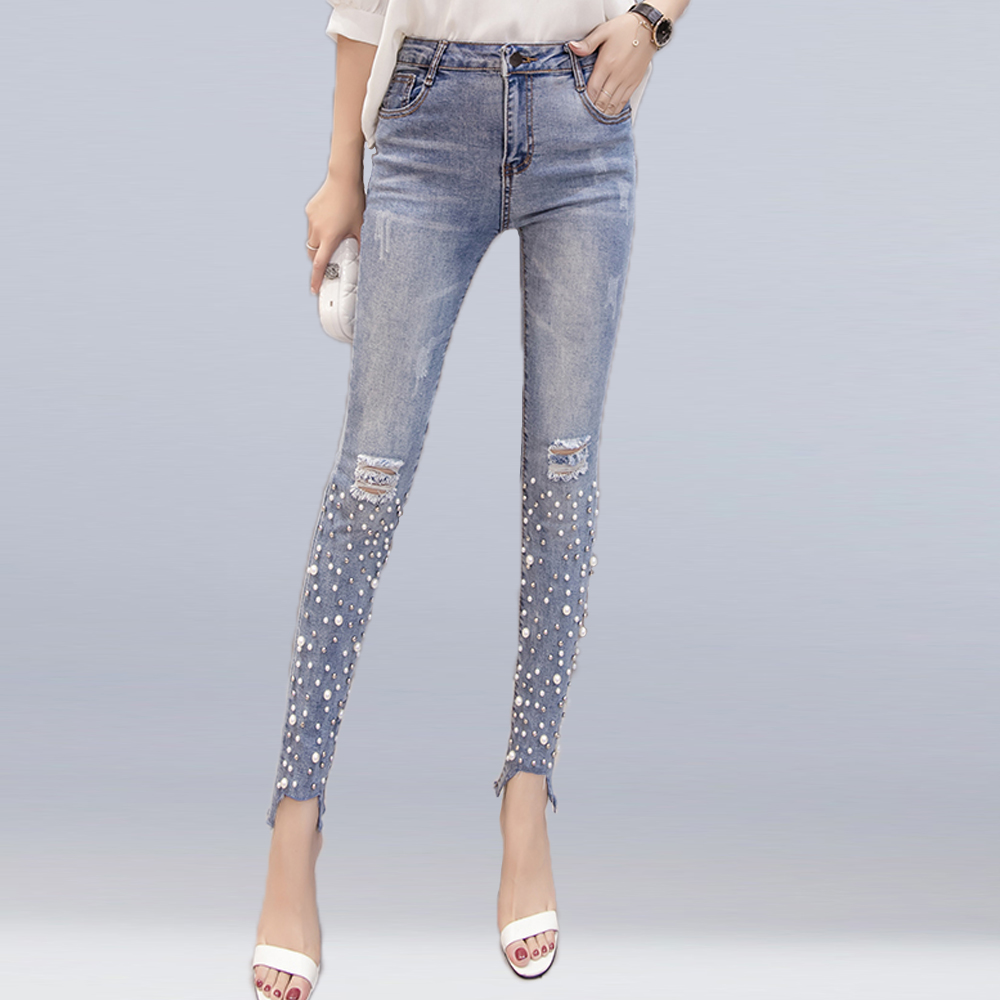 New Women Streetwear Pearl Beaded   Jeans   Female Casual Skinny Holes Denim Pencil Pants Ripped Women Stretch Trousers Bottoms