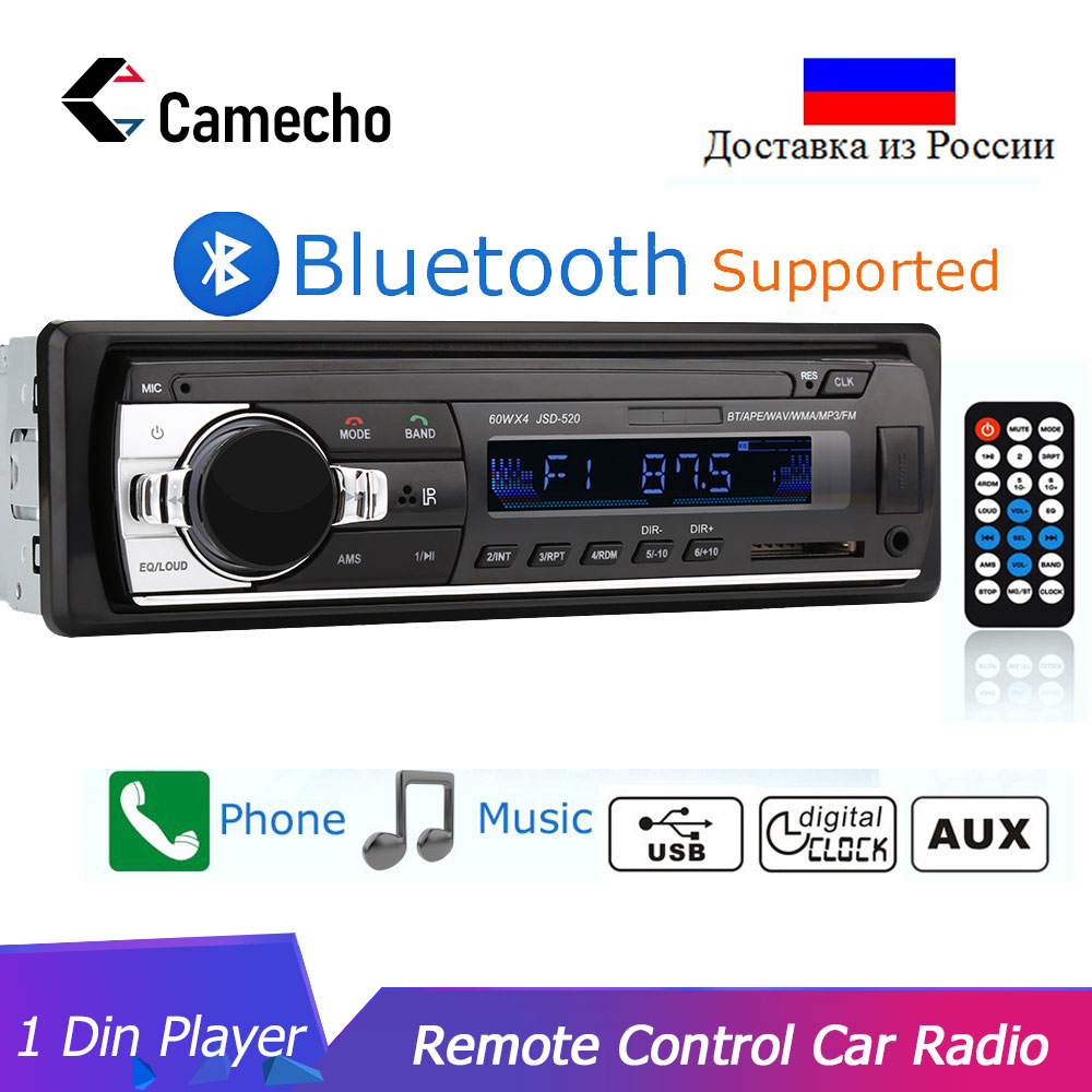 Cameho Autoradio 12V Car Radio Bluetooth 1Din Car Stereo Player Phone AUX-IN MP3 FM/USB/Radio Remote Control For Phone Car Audio image