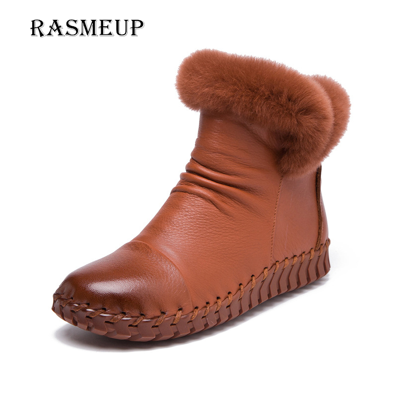 RASMEUP 100% Genuine Leather Women's Winter Boots Handmade Women Real Fur Snow Boots Woman Plush Warm Ankle Boots Female Shoes