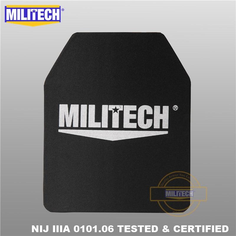 MILITECH 10x12 بوصة خفيفة الوزن للغاية UHMWPE NIJ المستوى IIIA 3A البالستية لوحة ظهره لوحة PE مع اختبار الفيديو