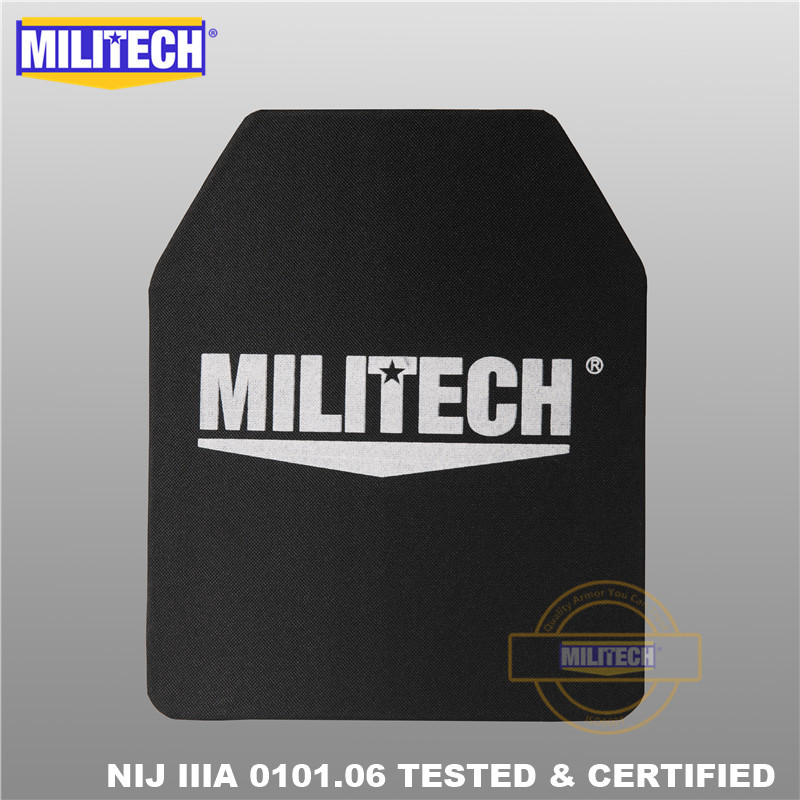 MILITECH 10x12 pulgadas Ultra ligero Peso UHMWPE NIJ Nivel IIIA 3A Panel balístico Mochila a prueba de balas Placa de PE con video de prueba