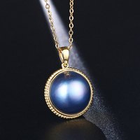 18K Gold Blue Aurora Pearl Necklaces 17 18mm Big Blue Pearl Pendant Necklaces Luxury Natural Freshwater Pearl Necklace For Women