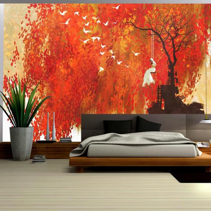 Us 2303 46 Offyellow Wallpaper Woman Swinging Under Autumn Maple Leaves Free Desktop Wallpaper Sitting Room Decor Wall Design Ideas For Living In