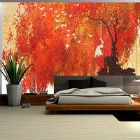 Yellow Wallpaper Woman Swinging Under Autumn Maple Leaves Free Desktop Wallpaper Sitting Room Decor Wall Design Ideas for Living