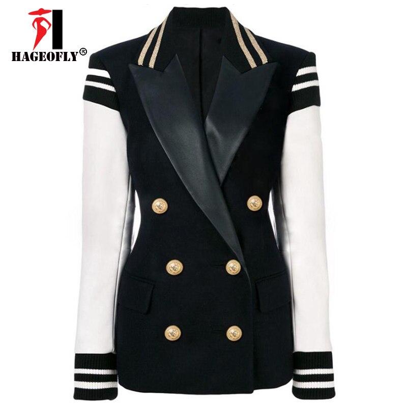 High Quality New Fashion Black Blazer Women Plus Size Blazers Coat Women s Leather Sleeve Patchwork