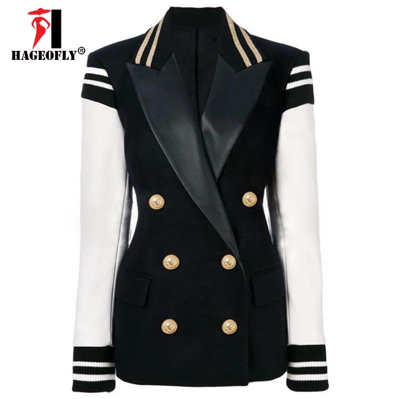 Kadın Giyim'ten Blazerler'de Yüksek Kalite Yeni Moda Siyah Blazer Kadın Artı Boyutu Blazers Ceket kadın Deri Kollu Patchwork Aslan Düğme Blazer Feminino'da  Grup 1