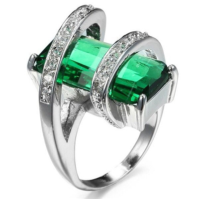 Hainon Luxury Green AAA Zircon Crystal Multilayer Vintage Silver Color Cross Ring For Women Finger Charm Jewelry