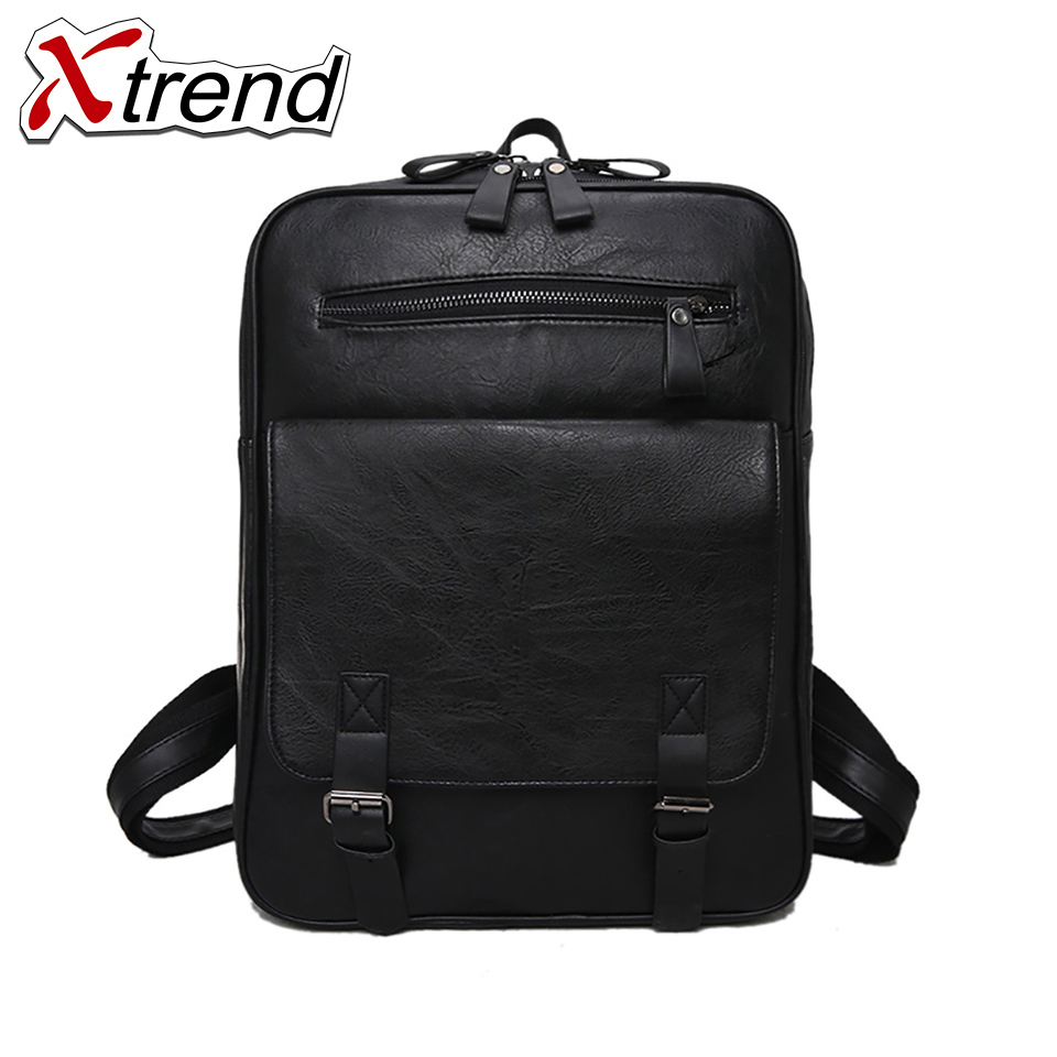 2018 Xtrend Brand Waterproof 15 inch Laptop PU Leather Backpack Men Backpacks for Teenage Girls Travel Backpack Bag Women Male swisswin hot sale swiss 15 inch laptop bag case men women backpack wholesale price backpacks 2015 new brand cooler bag black