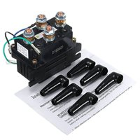 12V 400A Electric Winch Solenoid Relay Rocker Switch with Caps For ATV UTV Truck Black Metal