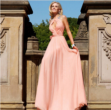 RBP049 Elegnat Long Evening Dress 2016 Hot Sale Crystal Backless Robe de soiree Pink Ruched Abendkleider Vestido longo