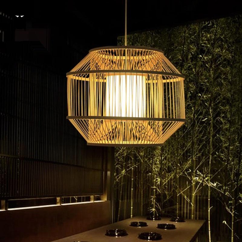 цена на Bamboo Wicker Rattan Cube Cage Shade Pendant Light Fixture Rustic Country Asian Hanging Lamp Avize Luminaria Dining Table Room