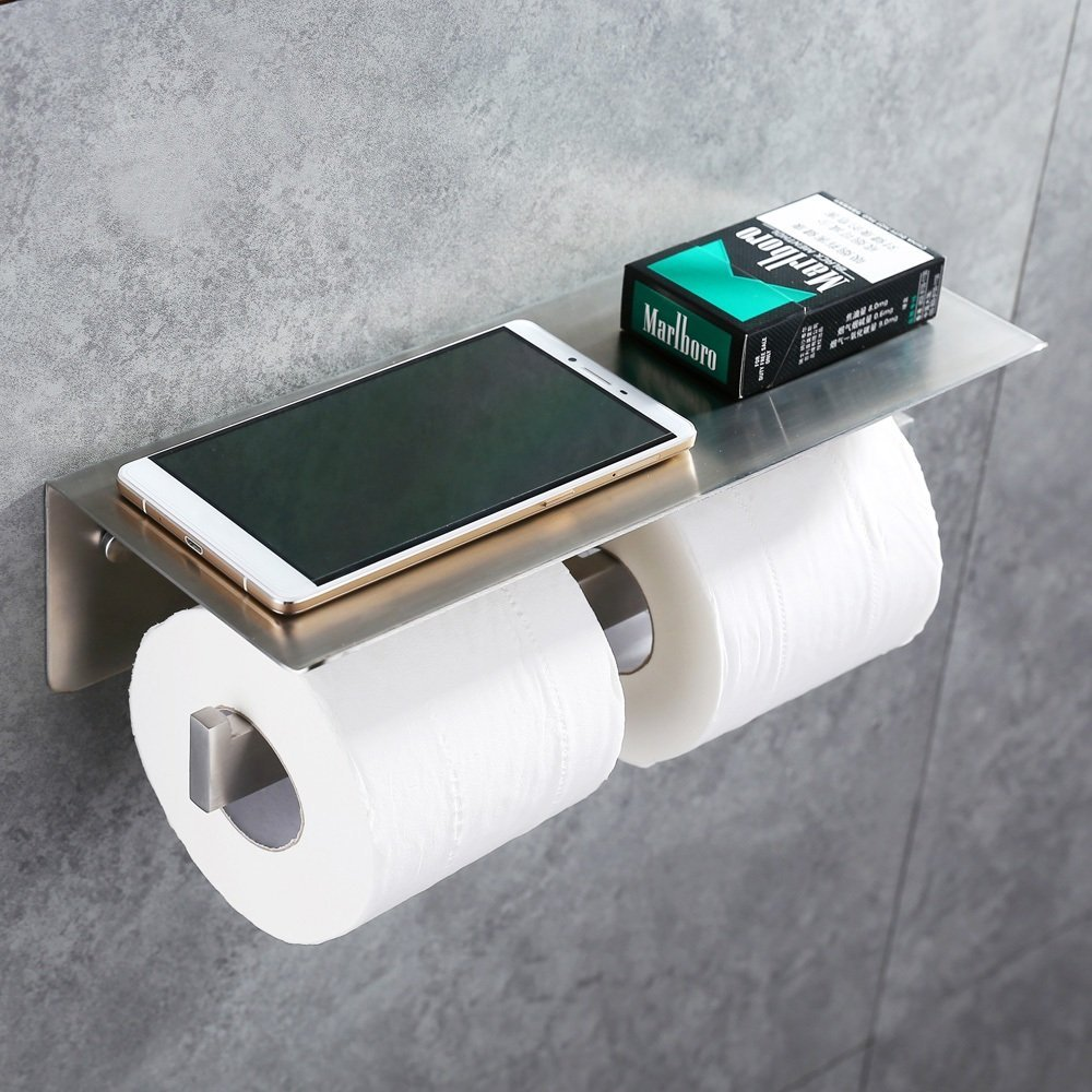 Double Toilet Paper Holder, APL SUS304 Stainless Steel Bathroom Paper Tissue Holder with Mobile Phone Storage Shelf Rack Brushed plus size leisure beach espadrille wedge heel sandals