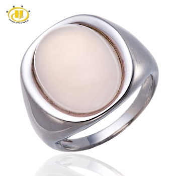 Hutang Oval Rose Quartz Rings Cabochon Cut Solid 925 Sterling Silver Cocktail Ring for Women Fine Classic Elegant Jewelry Gift