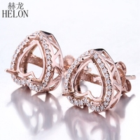 HELON 7 9 мм Сердце Вырезать Твердые 10 К розовое золото полу крепление Для женщин натуральное бриллиантами серьги обручение Свадебные Дамы Fine