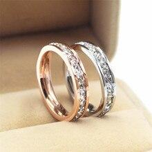 810c92dabdbe Hombre mujer de plata de oro rosa de acero de titanio anillos de moda  blanco de cristal de circón de joyería de la promesa de co.