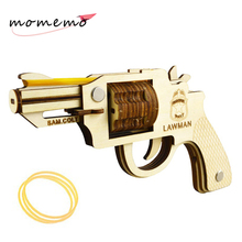 MOMEMO Diy Adults 3D Wood Puzzle Rubber Band Gun Assembled Wooden Toys Puzzles for Kids Educational Gifts