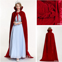 Pageant Velvet Cloak for Women Full Length 71 Luxury Europe Style Lace up Robe Medieval Cape Cosplay Party Queen Costumes Red