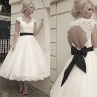 Thinyfull Sweetheart Backless Lace Vesidos De Novia A Line Wedding Dresses Black Bow Tea Length Robe de Marriage Bridal Gowns