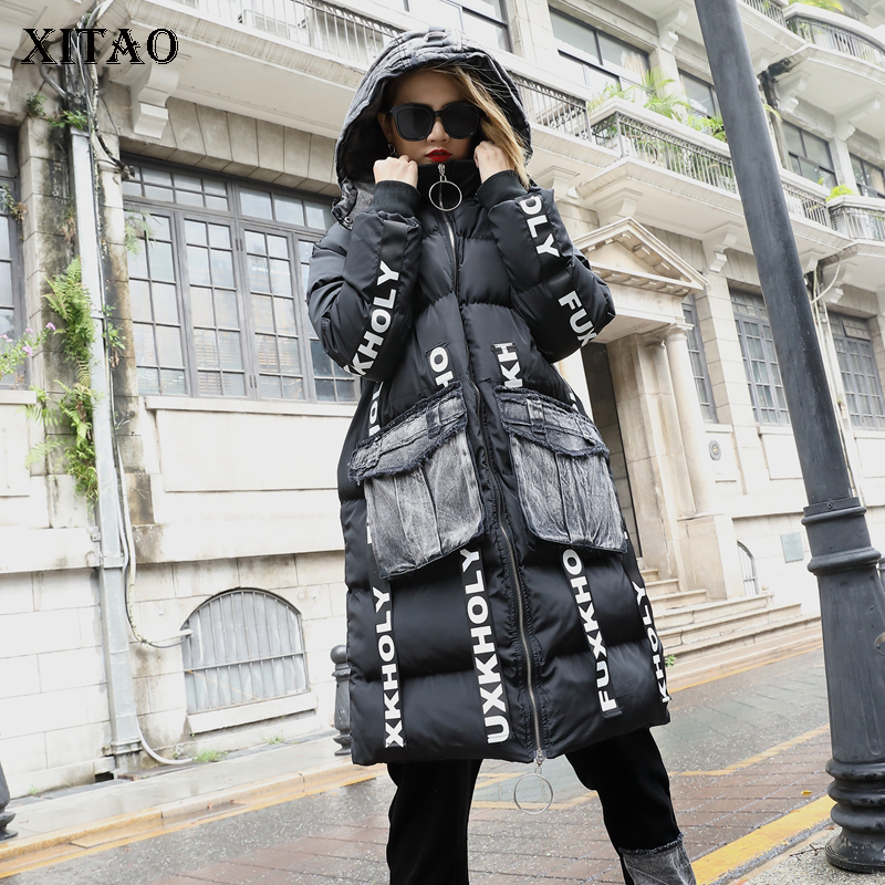 [XITAO] Korea Fashion New Women 2018 Autumn Print Pocket Coat Female Fulls Leeve Hooded Collar Thick Casual   Parka   LYH1474