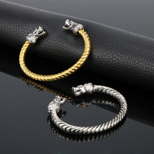 4ff0a6057c4d9 Norse Viking Fenrir Wolf Head Twisted Cable Bangle Cuff Bracelet Arm Ring  Pagan Jewelry 2 Color
