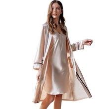 Robe Sets Female Brand Spring New Sexy Silk Sling Nightdress Two Piece Summer Ice Silk Bathrobes Sleepwear Woman X9201