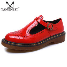 Patent Leather Women Brogue Shoes Fashion Cut-out Buckle Strap Women Oxford Shoes British Style Creepers Woman XWD4298