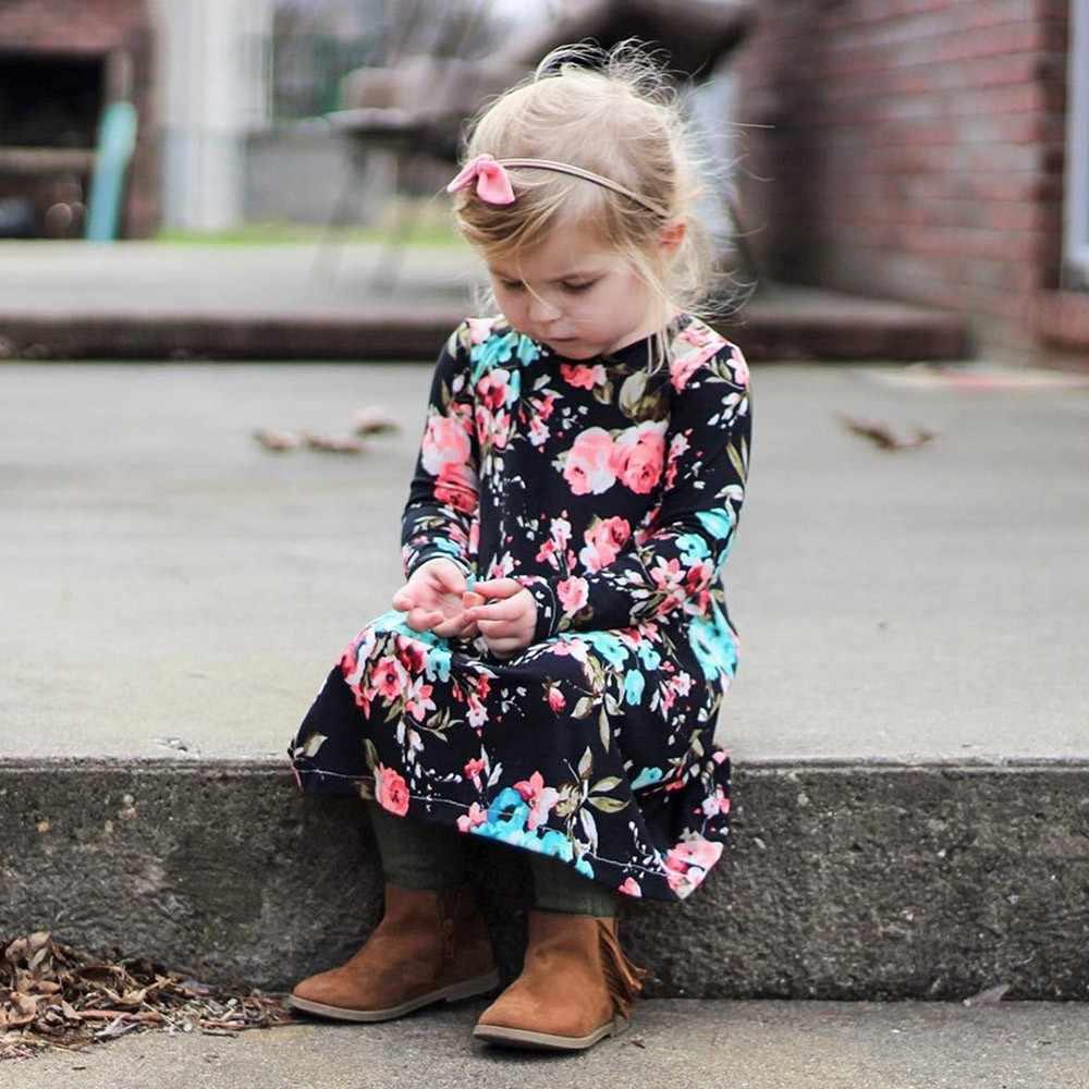 Maluch niemowlę dziewczynek ubrania sukienka z kwiatowym nadrukiem z długim rękawem nieregularna codzienna sukienka vestidos kids sukienki dla dziewczynek