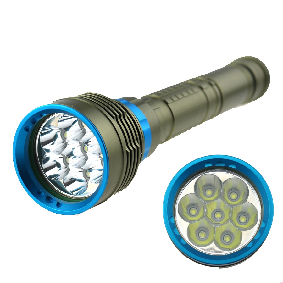 10000 Lumen 7T6 Underwater 100M Diving Flashlight 7 x CREE XM-L T6 LED Scuba Diver Torch Light for 3x18650 or 26650 battery new power 18000 lumen underwater flashlight 7 x xm l2 led scuba diving flashlight diver torch light have 3x18650 and charger