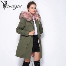 YOUMIGUE Women's Multicolor raccoon fur collar hooded long coat parkas outwear fur lining winter jacket jaqueta feminina inverno
