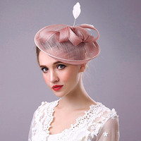 Handmade Grenadine Disc Winding Ribbon and Feather Women Hair Bands High Grade Party Hat Style Headwear for Women A029