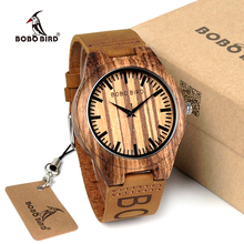 BOBO BIRD WO30 Classic Zebra Wooden Watch Quartz Watches With Brand Design Leather Straps relojes mujer marca de lujo 2017